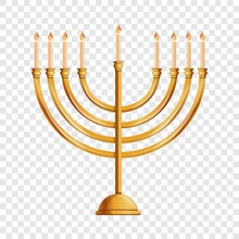 Jewish Menorah Icon. Cartoon O...