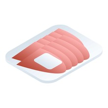 Sliced Market Meat Icon. Isometric Of Sliced Market Meat Vector Icon For Web Design Isolated On White Background