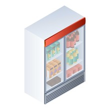 Full Drink Fridge Icon. Isomet...