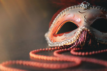 Venetian Carnival Mask On Blac...