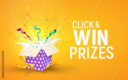 Open brigh textured box with confetti explosion inside and Click and win prizes text Fototapete