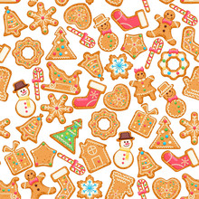 Christmas Wishes On Seamless Pattern. Cute Xmas Card With Colorful Funny Gingerbread On Background With Snowflakes. Vector Greeting Poster.