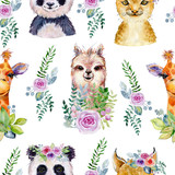 Animals. Watercolor illustration. Seamless pattern on white background. - 238240799
