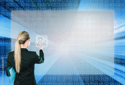 Keuken foto achterwand Akt Businesswoman touching virtual interface