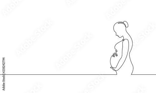 Fotografiet Pregnant woman single continuous line art