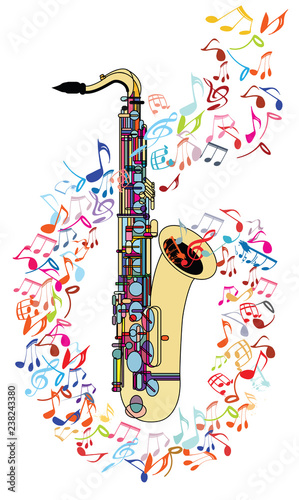 Foto op Plexiglas Art Studio Saxophone and musical notes
