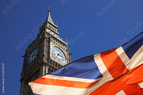 Canvas Print brexit concept - double exposure of flag and Westminster Palace with Big Ben