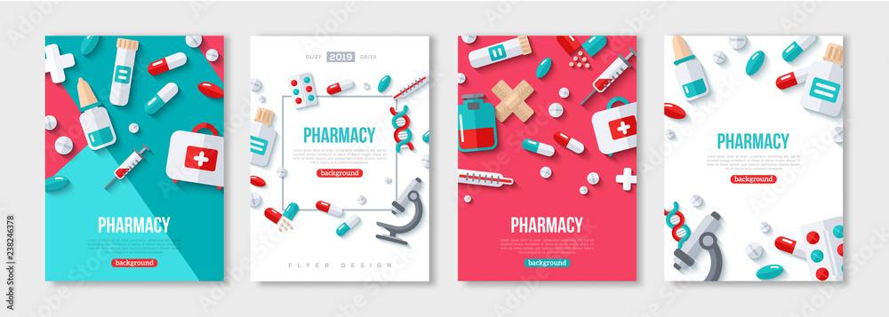 Fototapety, obrazy: Pharmacy Posters Set