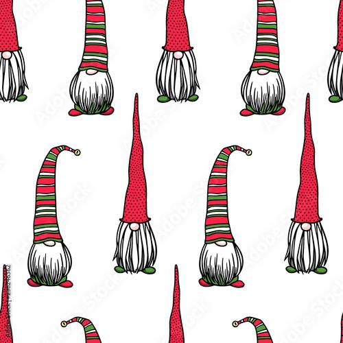 Christmas Gnomes Pattern.Hand Drawn Christmas Gnomes Pattern Buy This Stock Vector