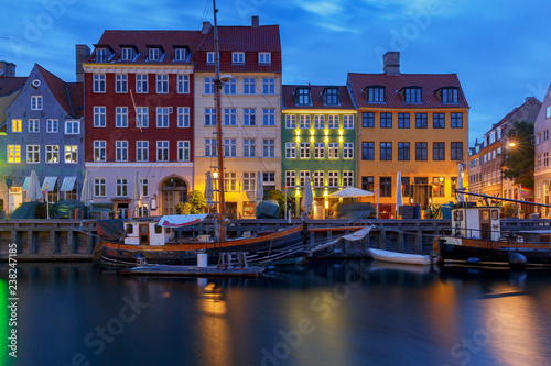Photo  Copenhagen. The Nyhavn channel is at dawn.