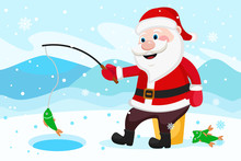 Santa Claus Fishing Rod Catches Fish In The Hole.