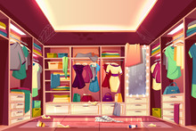 Messy Womans Walk In Closet, Dressing Room Interior Cartoon Vector With Scattered Clothing, Stained Walls And Furniture, Dirty Mirror, Littered Floor, Spider Web On Ceiling. Careless Housewife Concept
