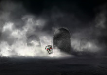 Horror On Old Cemetery At Foggy Night Realistic Vector. Zombie Head, Skull Of Deceased With Glowing Red Eyes Getting Out From Grave Illustration. Risen With Black Magic Dead. Halloween Background
