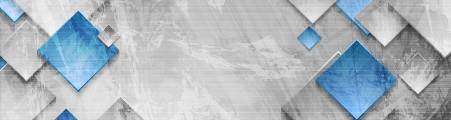 Tech squares on abstract grunge corporate banner