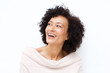 canvas print picture - Close up attractive middle age african american woman laughing against white background