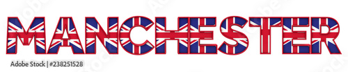 Photo  Manchester city word made from union jack flag lettering