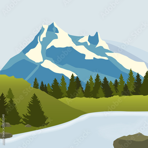 Landscape. Snowy mountains, pine forest and a large river Fototapet