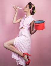Pinup Girl With Fashion Hair. ...