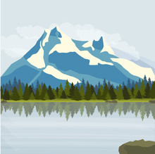 Landscape. Snowy Mountains, Pine Forest And A Large Lake