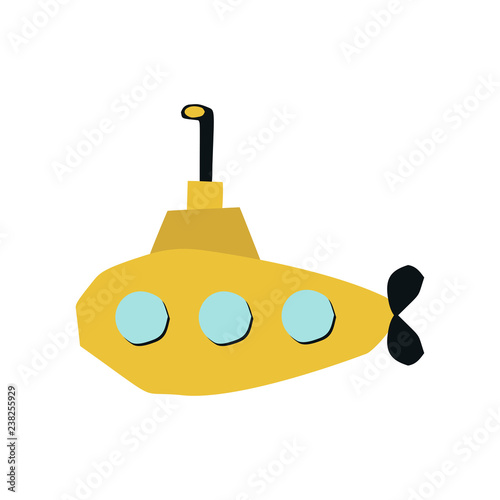 Photo  Summer kids poster with cute yellow submarine cut out of paper