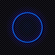 Vector Neon Blue Circle, Glowing Frame, Shine Effect Isolated.