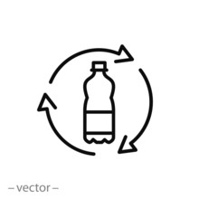 Recycle Plastic Bottle Icon, L...