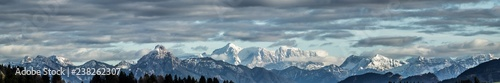 Montage in der Fensternische Dunkelgrau alps winter mountain landscape panorama