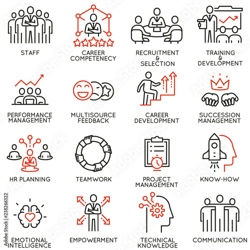 Vector set of linear icons related to human resource management, career competency and leadership Wallpaper Mural