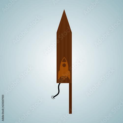 Fényképezés  Vector firecracker. Festive salute. Petard. Rocket