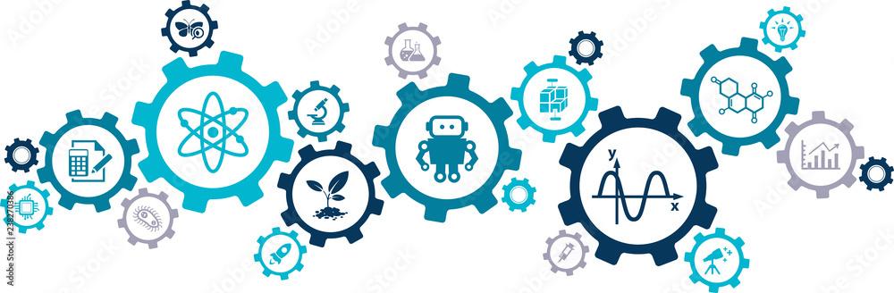 Fototapeta stem – science, technology, engineering, mathematics / science education – vector illustration