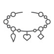 Bracelet with heart thin line icon, jewellery and accessory, bracelet with pendants sign, vector graphics, a linear pattern on a white background.