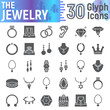 Jewelry glyph icon set, accessory symbols collection, vector sketches, logo illustrations, jewel signs solid pictograms package isolated on white background.