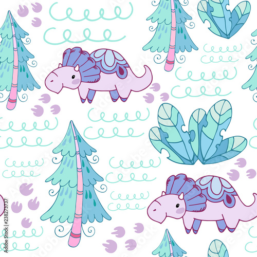 graphic relating to Printable Textiles identified as Seamless habit with fairy spruce, vegetation and dinosaurs