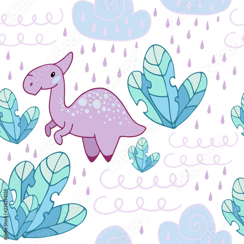 graphic about Printable Textiles named Seamless habit with fairy vegetation фтв with a dinosaur