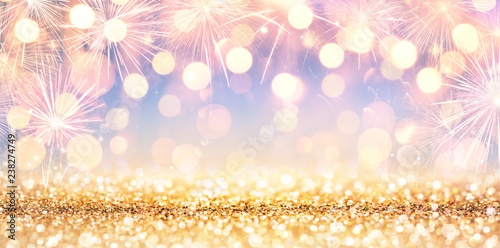 Fotografia  Shiny Golden Glitter With Fireworks And Lights