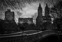 Bow Bridge In Central Park In Black And White - New York City, NY