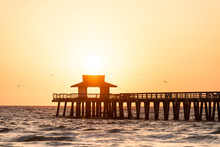Naples, Florida Yellow And Orange Sunset, Birds, Seagulls Flying, In Gulf Of Mexico With Sun Setting By Pier Wooden Jetty, With Horizon And Dark Silhouette Ocean Waves