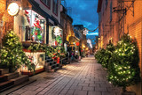 Fototapeta Uliczki - Christmas Decoration at Rue du Petit-Champlain in Lower Old Town (Basse-Ville) at night - Quebec City, Canada