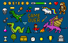 Pixel Art 8 Bit Objects. Retro...