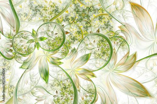 Abstract computer generated plant fractal design. Digital artwork for tablet background, desktop wallpaper or for creative cover design.