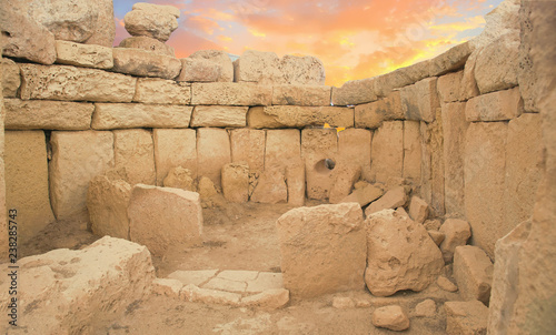 Wall Murals Place of worship neolithic temples of Hagar Qim