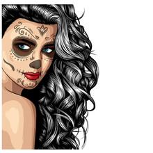 Girl With Skeleton Make Up