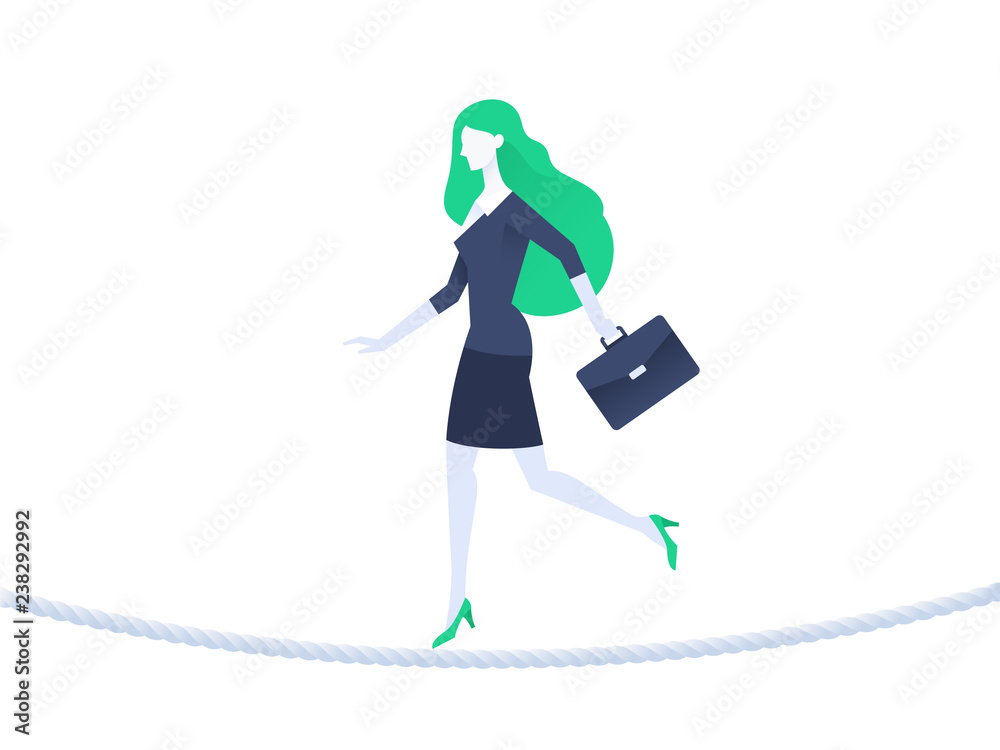 Fototapety, obrazy: Business woman balancing on rope. Business risk concept. Flat design. Vector illustration