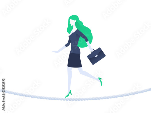 Fototapeta Business woman balancing on rope. Business risk concept. Flat design. Vector illustration obraz