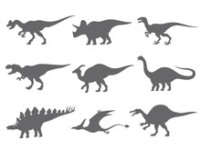 Set Of Dinosaurs Silhouette Is...