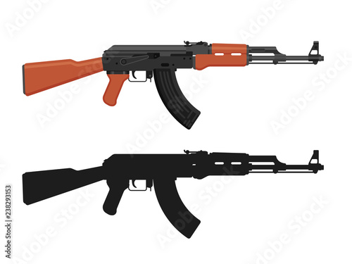 AK 47 Kalashnikov machine gun isolated on white Canvas Print