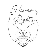 Human Rights Concept: Man Hands Create Love Heart