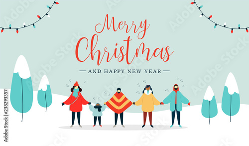 Poster Hoogte schaal Merry Christmas card of diverse people singing