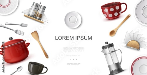 Photo  Realistic Kitchenware Colorful Template