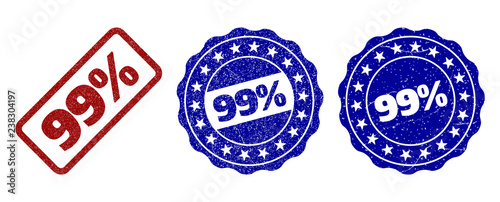Photographie  99% grunge stamp seals in red and blue colors